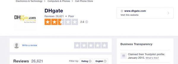 dhgate review trustpilot