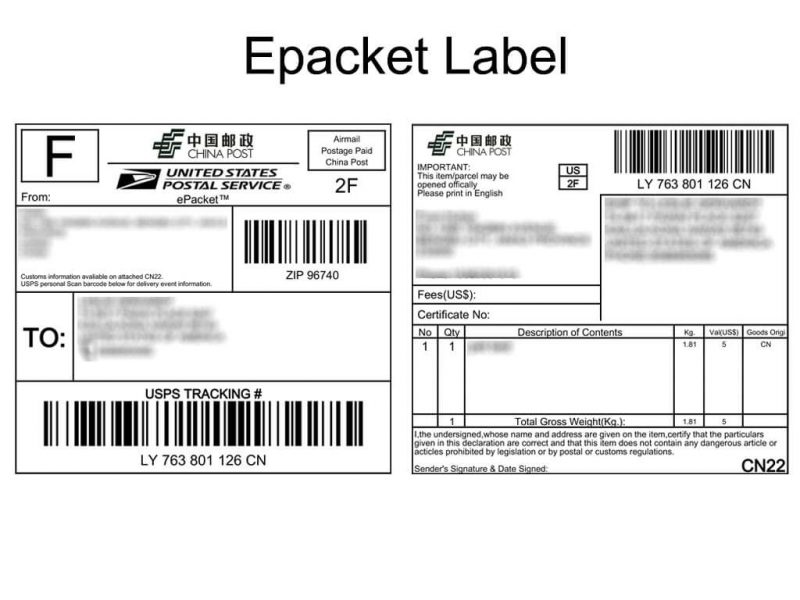epacket label